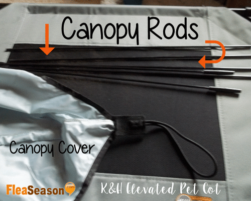 Canopy Rod assemby of K&H elevated pet cot bed.