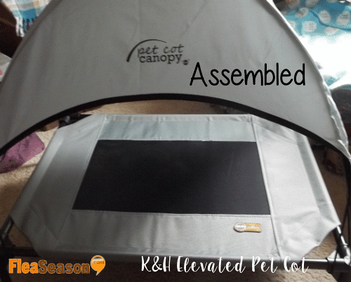 Assembled K&H elevated pet cot bed with canopy.