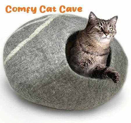 Merino wool cat caves for cozy sleep.
